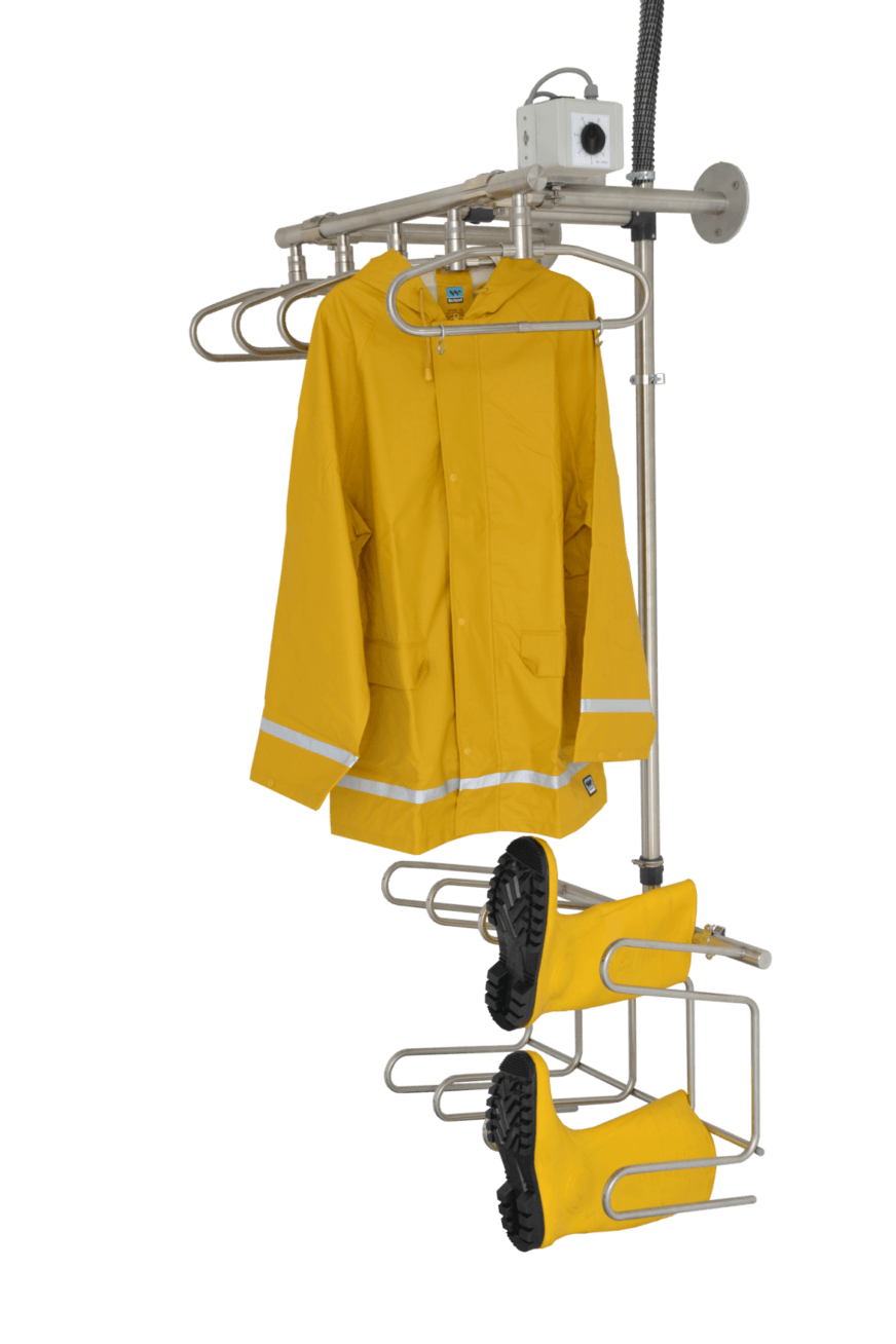 wall-mounted drying solution for fishermen workwear