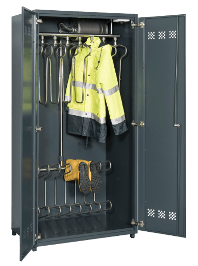 drying cabinet for work jackets and boots, gloves or shoes