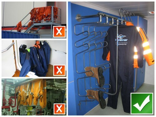 drying systems for a neat and clean changing room and efficient drying of heavy work wear