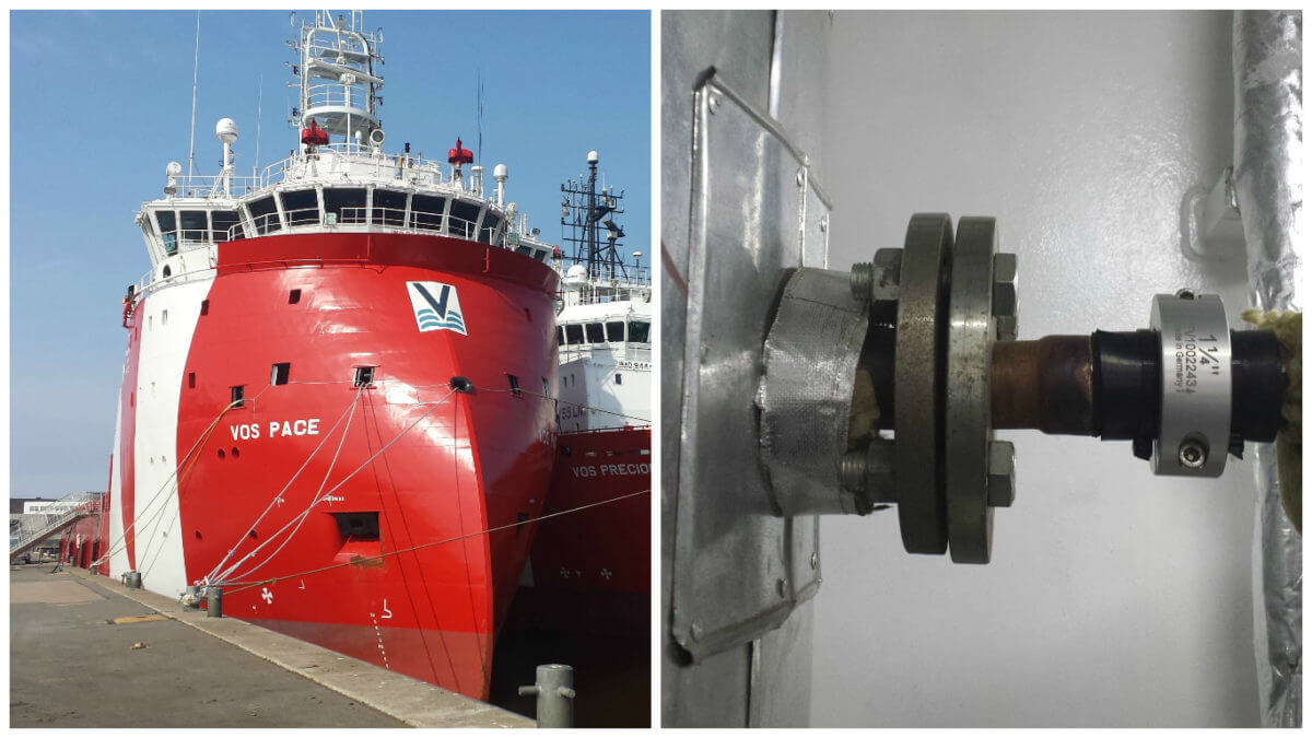 Merus rings for seawater lines of VOS Pace
