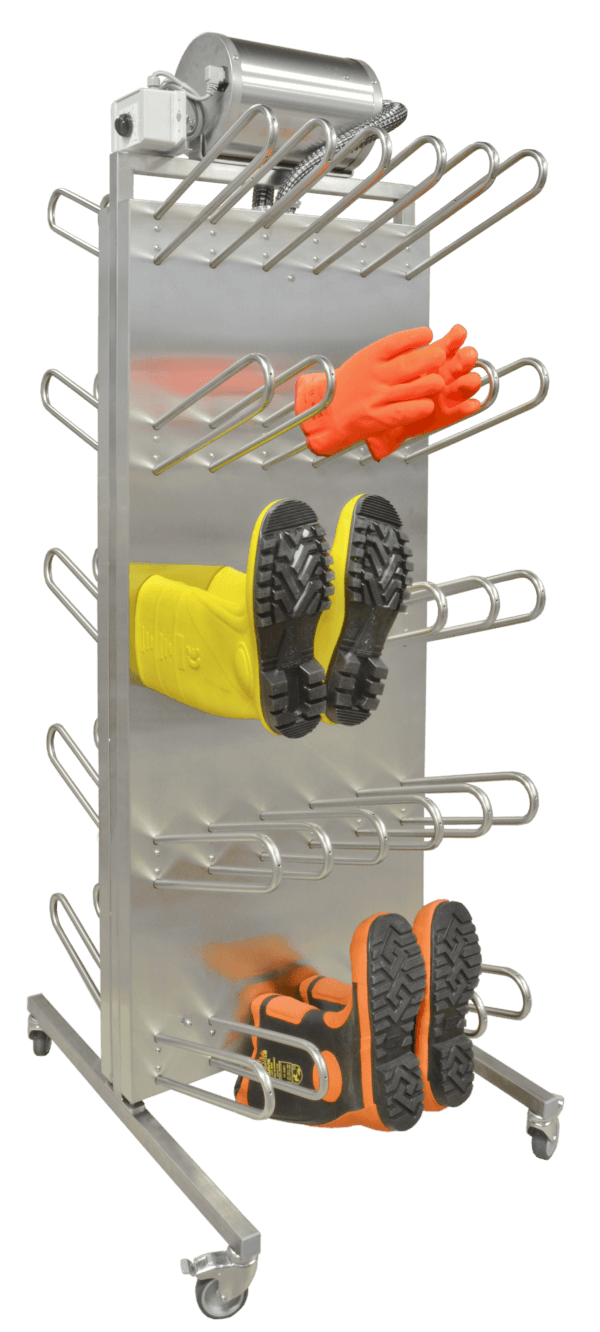 Robust drying equipment for fast drying of gloves, boots and shoes