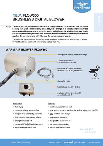 Product Information Digital Blower FLOW300
