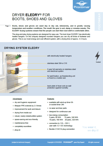 Product Information ELEDRY Drying System for Boots Shoes Gloves