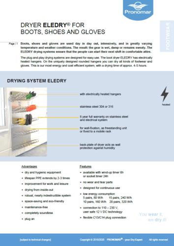 Información ELEDRY sistema de secado botas zapatos guantes