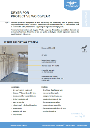 Product Information Drying System Protective Workwear