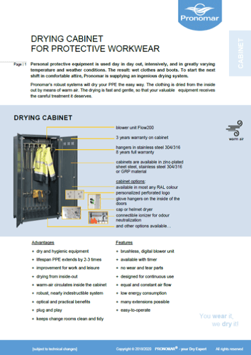 Product Information Drying Cabinet Protective Workwear