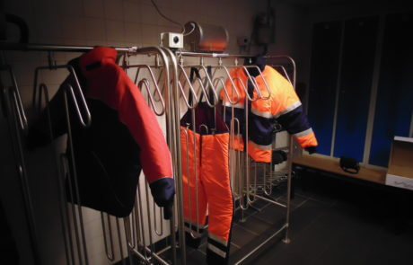 drying room solution food industry for freezer coats, trousers and overalls