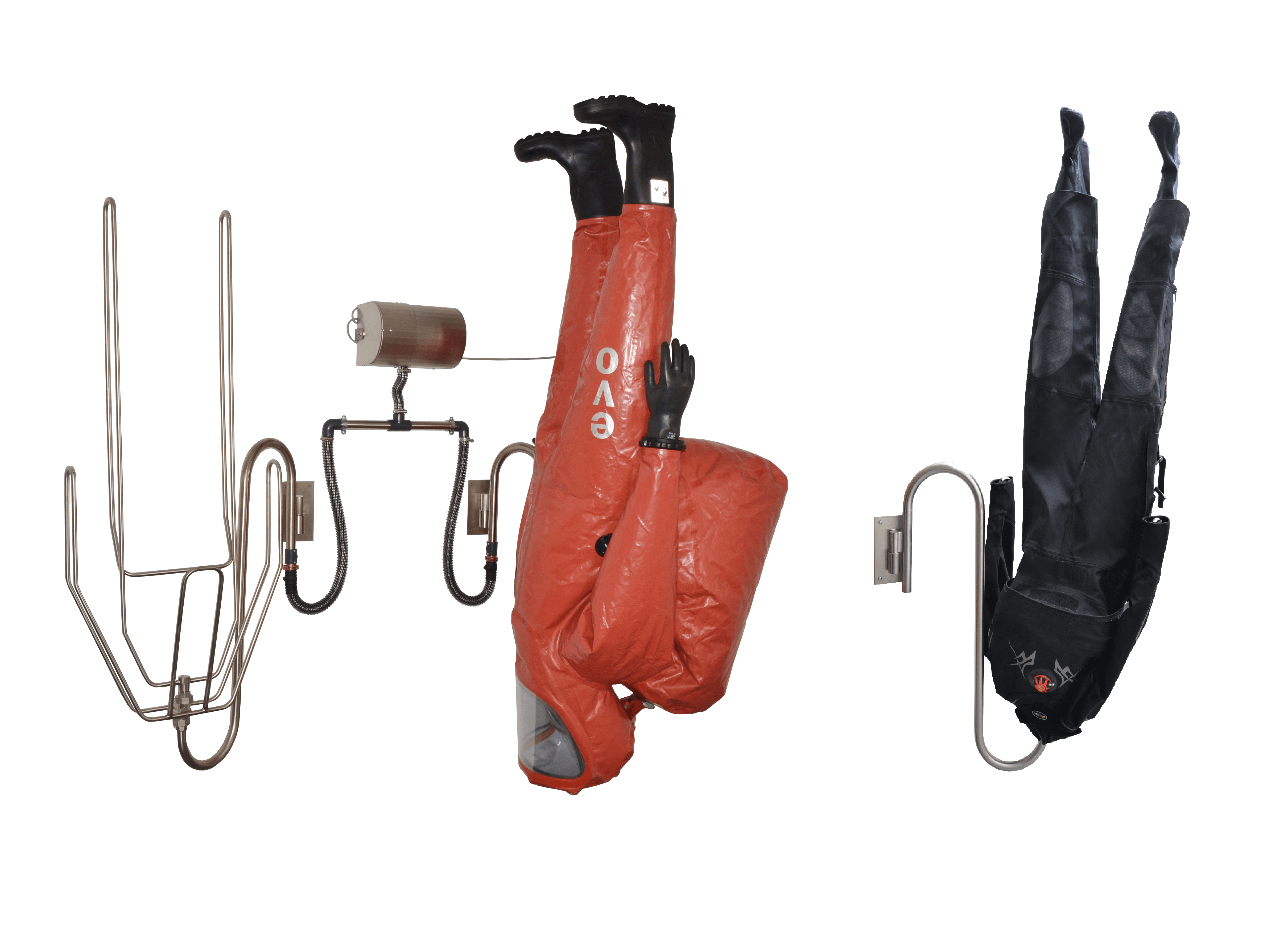 upside-down chemical protection suit drying system
